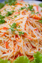 Close up of imitation crab meat salad and vegetables Stock Photography