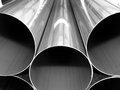 Close up from inox steel large pipes on black and white group of size monotone edition Royalty Free Stock Images