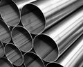 Close up from inox steel pipes Royalty Free Stock Photo
