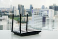 Close up isolated WiFi router Royalty Free Stock Photo
