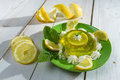 Close-up of jelly with lemon and fresh mint Royalty Free Stock Image