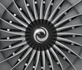 Close-up of jet fan engine turbo blades.