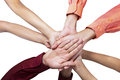 Close up of join hands business people joining their on white background Stock Photo