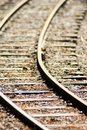 Close up kids wooden railroad track with selective focus, background Royalty Free Stock Photo
