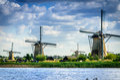 Close up for kinderdijk windmills national dutch landmark Stock Image