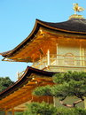 Close up kinkakuji temple roof and gold bird on top japan Royalty Free Stock Photography