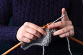Close-up of knitting hands Royalty Free Stock Photo