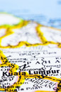Close up of Kuala Lumpur on map, malaysia Royalty Free Stock Photos