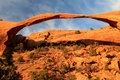 Close up of landscape arch view in arches national park near moab utah showing narrowness the Royalty Free Stock Image