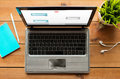 Close up of laptop computer with messenger chat Royalty Free Stock Photo