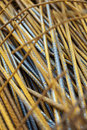 Close up large cluster steel rods intended use construction site Stock Photos