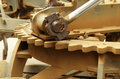 close up of large grader gear and grease on join hydrolic lifter Royalty Free Stock Photo