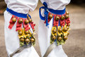 Close up of legs bells on a morris dancer Royalty Free Stock Image