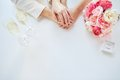 Close up of lesbian couple hands and wedding rings Royalty Free Stock Photo