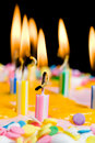 Close up of lit birthday candles Royalty Free Stock Photos