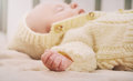 Close up little hand of sleeping cute newborn baby Royalty Free Stock Photo