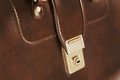 Lock on leather business briefcase Royalty Free Stock Photo