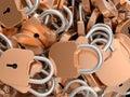 Close-up of locked brass padlocks Stock Images