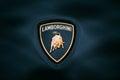 Close Up Logo Of Lamborghini on dark blue background Royalty Free Stock Photo