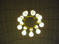 Close up of lustre on ceiling a with nine light balls the Royalty Free Stock Images