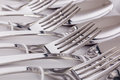 Close up macro detail of a flatware box set Royalty Free Stock Photo