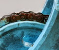 Close up macro rusty chain and gear Royalty Free Stock Photo