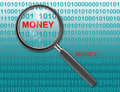 Close up of magnifying glass on money Royalty Free Stock Photo