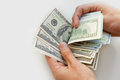 Close up of male hands with money Royalty Free Stock Photo