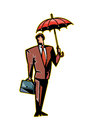 Close up of man is holding a umbrella Royalty Free Stock Image