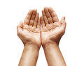 Close up of man`s cupped hands show something on white background Royalty Free Stock Photo