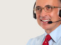 Close up of a man wearing a headset Royalty Free Stock Photo