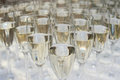 Close up of many champagne glasses on table Royalty Free Stock Photos