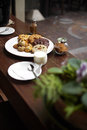 Close up many cookies and milk on wooden table Royalty Free Stock Photos