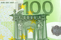 Close up of many European hundred euros Royalty Free Stock Photo