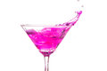 close up martini glass with pink cocktail Royalty Free Stock Photo