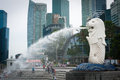 Close up on the merlion monument singapore jan mythical a creature with head of a lion and body of a fish is Stock Photo
