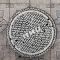 Close-up of the metal manhole cover Royalty Free Stock Photo