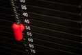 Close up of metal weight stack in a gym Royalty Free Stock Photo