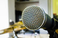 Close up of microphone in music room or conference room karaoke Royalty Free Stock Image
