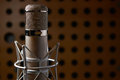 Close Up Of Microphone In Recording Studio Royalty Free Stock Photo