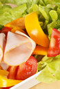 Close-up of a mixed salad with roast turkey Stock Image