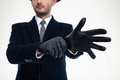 Close up of modern stylish gloves weared on handsome businessman Royalty Free Stock Photo