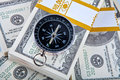 Close up money and compass concept Royalty Free Stock Photography
