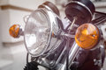 Close up of a motorcycle headlight Royalty Free Stock Photo
