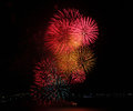 Close up of a multi colored fireworks display symbolizing new year celebration and pyrotechnics Stock Photo
