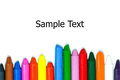 Close up of multicolor crayon pencils Royalty Free Stock Photo