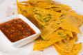 Close Up of Nacho Chips with Salsa Royalty Free Stock Photo