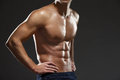 Close up of naked male s torso isolated on black Stock Photo