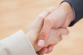 Close up on new partners shaking hands in bright office Royalty Free Stock Photo