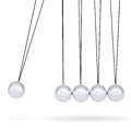 Close up of newton s cradle isolated render on white background Stock Photos